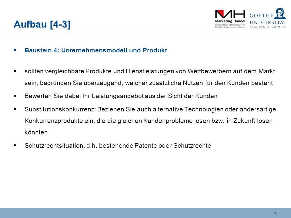 Aufbau [4-3] Baustein 4: Unternehmensmodell und Produkt